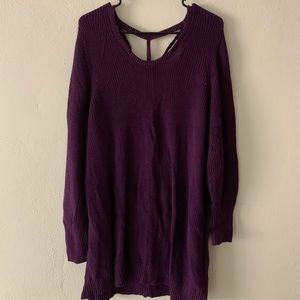 Purple tunic with o-ring back detail